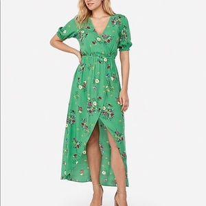 Express Dresses - NEW Express Green Floral Wrap Hi-Lo Maxi Dress